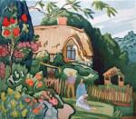 'Cottage Garden, Devon', original watercolour. FOR SALE