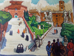 'Steps to Piazza del Campidoglio, Rome', 49.5cm x 38.5cm, signed, unframed