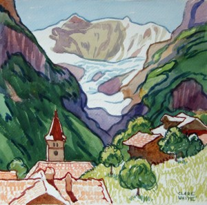 'Glacier, Wetterhorn', watercolour, signed, framed