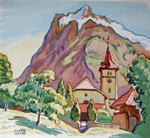 'Grindelwald Church', watercolour, framed, signed