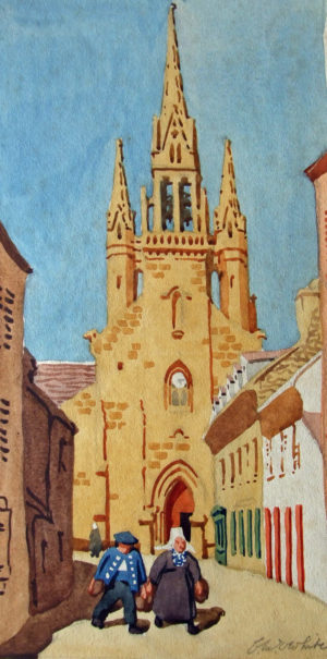 'Plougastel, Brittany', watercolour, signed