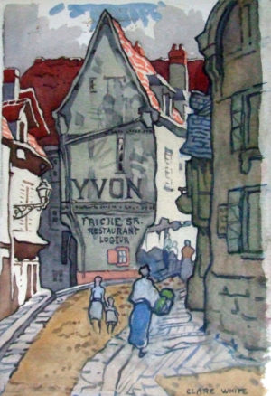 'Yvon Restaurant', watercolour, signed